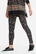 Johnny Was Embroidery Flower Legging Pant Black Floral Leggings Small S Blue New