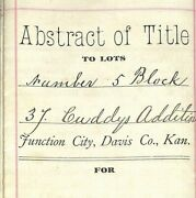 1891 Junction City Ks Document / Title Abstract - 1861 Reference To Lincoln