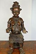 Very Large 25kg Early 20th Century African Benin Bronze Maternity Statuec1920