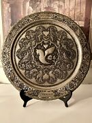 Hand Engraved Copper Wall Charger Plate Platter Iran Air C-1960s 16.5andrdquod 1525g