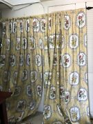 Custom Made Drapes Curtain Yellow Gray White Floral Lined 74x100 Home Decor