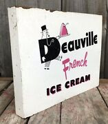 Vintage 2 Sided Deauville French Ice Cream Advertising Flange Sign