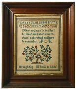 Rare 1806 Early 19th C American Antique Sampler Sgnd Maggie Kohl In Walnut Frame