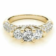 14k Yellow Gold Round Cut 1.36ct Real Diamond Engagement Rings Size 8