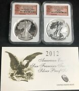 2012-s San Francisco Two-coin Silver Eagle Set Ngc Pf70/pf70 With Coa