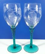 Teal Depression Glass Etched Grape Wine Glass Twisted Stem 8 1/2 In Tall