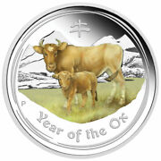 2021 Year Of The Ox 2oz Silver Proof Coloured Coin - Anda Perth Money Expo