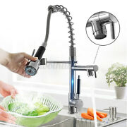 Kitchen Sink Faucet Pull Down Sprayer Brushed Chrome 360° Swivel Spout Mixer