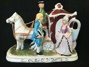 Capodimonte Victorian Horse And Carriage, Generous Gold Accents, Mint
