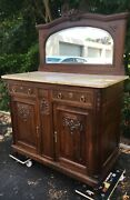 Antique French Louis Xvi Style Buffet Furniture 1920-30and039s Marble Wood Mirror