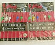 Vintage Swizzle Sticks Wet Your Whistle Stirs Highball Mixers Cocktail Set Of 2