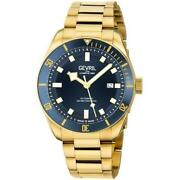 Gevril Menand039s 48602 Yorkville Swiss Automatic Gold Ip Steel Date Watch