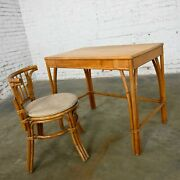 Heywood Wakefield Rattan And Maple Writing Desk And Low Back Chair By Sovereign Furn