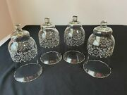4 Homco Home Interior Park Lane Etched Candle Holder Sconce Glass Votive Cups