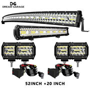 50 Curved 20and039and039 Led Light Bar Combo+4inch Cube Pods For 1997-2003 Ford F150 Roof