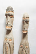Artifact Of Two Asmat Very Tall Male And Female Figures Papua New Guinea -l825-753