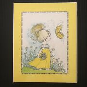Vintage 1976 Mead Tri-fold Binder Girl With Flowers And Butterfly