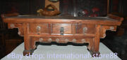 25.2 Old Chinese Huanghuali Wood Carving Dynasty Palace 3 Drawer Censer Table
