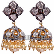 4.10cts Rose Antique Cut Diamond Pearl Silver Victorian Gorgeous Jhumka Earring