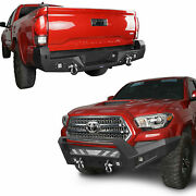 Combo Steel Front Rear Bumper W/ Led Light And D-ring For Toyota Tacoma 2016-2021