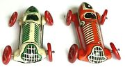 Two Vintage Pre-wwii German Tin Litho Grand Prix Boat Tail Racers Toy Race Cars