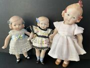 Lot Of 3 Porcelain Reproductions Of Antique German Heubach, Hertwig Doll