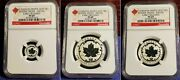 2015 Canada 3 Maple Leaf.999 Ngc Graded Incuse Set Lot Of 3 Coins
