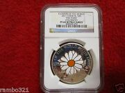 2011 Cook Island Is Daisy In Cloisonne .999 Silver And Gold Coin Ngc Pf 69