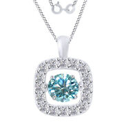 3.25 Ct Light Blue Moissanite Dancing Halo Pendant Necklace In Sterling Silver