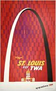 Original Vintage Poster St. Louis Fly Twa Up Up And Away Airline Travel Klein Ol