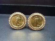 1987 5 Tenth-ounce American Eagle Gold Cufflinks In 14k Gold Wing Back Settings