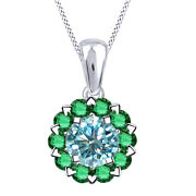 3.25 Ct Light Blue Moissanite And Emerald Sterling Silver Halo Pendant Necklace
