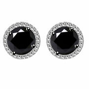 Sterling Silver 6 Ct Round Black Moissanite Halo Stud Earrings W/push Back