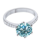 Sterling Silver 3.25 Ct Light Blue Moissanite Engagement Bridal Ring Jewelry