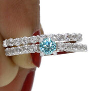 1.25 Ct Round Light Blue Moissanite Engagement Bridal Set In Sterling Silver