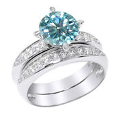 2 Ct Light Blue Moissanite Sterling Silver Bridal Set Wedding Ring Jewelry