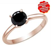 3/5 Ct Black Real Genuine Moissanite 4 Prongs Solitaire Ring 14k Rose Gold Over