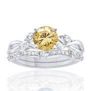 2.75 Ct Golden Moissanite Sterling Silver Solitaire Engagement Ring Bridal