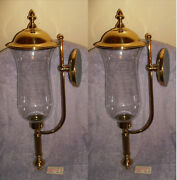 Set/2 Copper Craft 2359 Brass Wall Candle Holders Glass Globes With Brass Tops