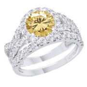 Sterling Silver 2 Ct Golden Moissanite Engagement Bridal Set Ring Jewelry