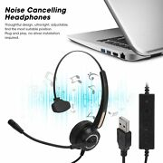 Usb Noise Cancelling Headset Headphones With Mic For Pc Laptop Call Office