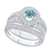 3.5 Ct Round Light Blue Moissanite Bridal Engagement Rings In Sterling Silver