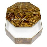 6 X 6 Inches Tiger Eye Stone Art Brooch Box Marble Trinket Box Mothers Day Gift