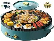 New Electric Hot Pot Grill Indoor Korean Bbq Non-stick Coating 2-8 People Gift