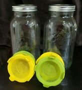 2 Ball Clear Glass Half Gallon 64oz Wide Mouth Mason Jar With 4 Sprouting Lids