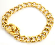 Cc Turn Lock Thick Chain Necklace Gold Tone Vintage Auth Rare 574