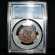 1843 Braided Hair Large Cent ✪ Pcgs Ms-63-bn ✪ Petite Head Small Letter◢trusted◣