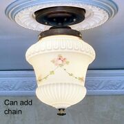 937b Vintage Antique Glass Shade Ceiling Light Fixture Hall Entry Porch