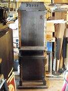 1970and039s- 80and039s Vintage Heavy Wood Telephone Booth/stand With Lighted Hood Rare
