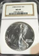 1988 Silver American Eagle Ngc Ms 69